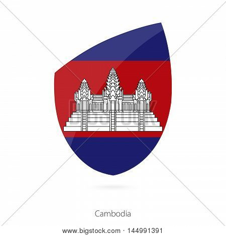 Flag of Cambodia in the style of Rugby icon. Vector Illustration.