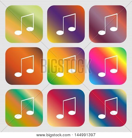 Music Note Sign Icon. Musical Symbol . Nine Buttons With Bright Gradients For Beautiful Design. Vect