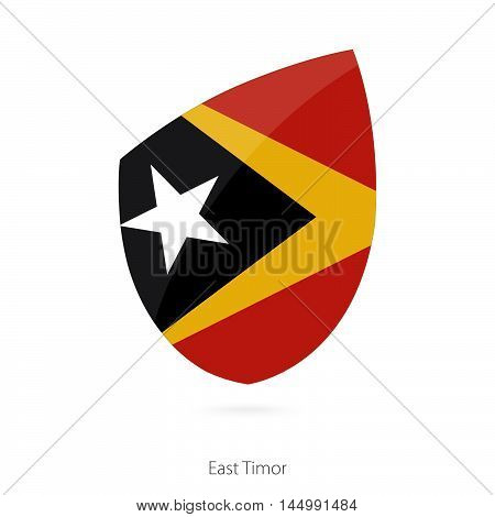 Flag of East Timor in the style of Rugby icon. Vector Illustration.