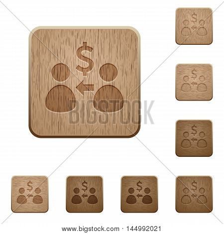 Set of carved wooden Receive Dollar buttons in 8 variations.