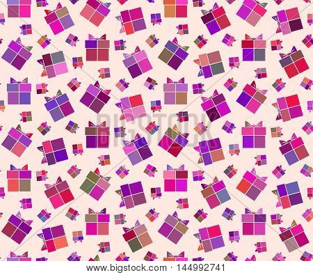 Seamless ornamental holiday pattern with gifts in tints of purple color in flat style. Vector illustration