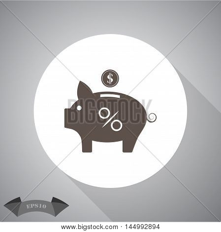 Vector percent piggy money bank  Vector icon for web and mobile.