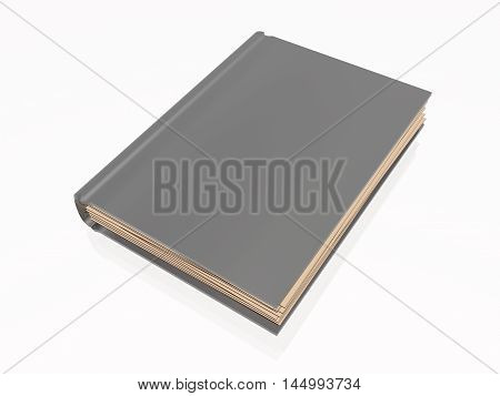 Grey book white reflective background, 3D illustration.