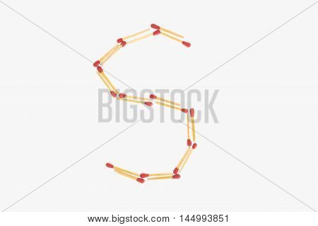 letter s made of safety match isolated on white background