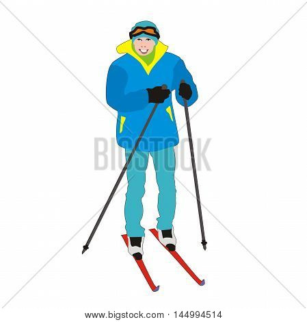 Vector skier amateur young student isolated on white background