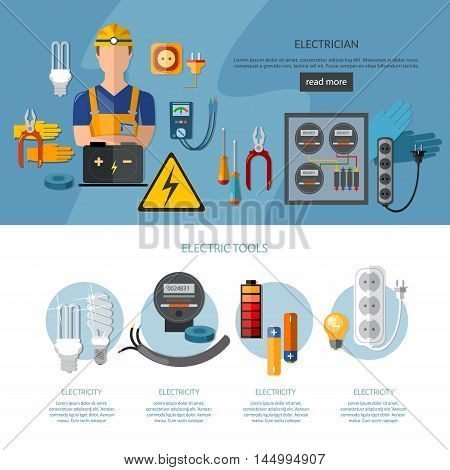 Professional electrician infographics electricity tools flat vector illustration