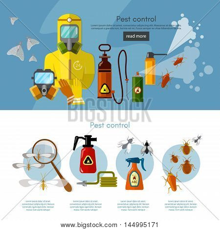 Pest control services insects exterminator detecting exterminating insects banner infographics vector illustration