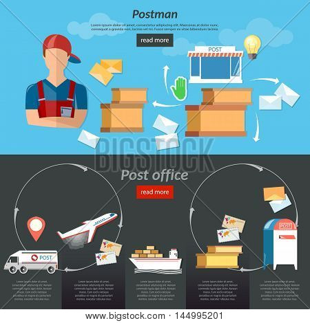 Postman post office mail delivery service banners mailbox shipping and delivery of letters correspondence vector illustration