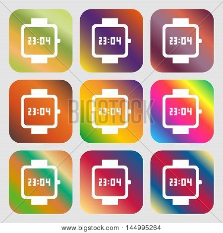 Wristwatch Icon . Nine Buttons With Bright Gradients For Beautiful Design. Vector