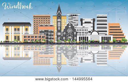Windhoek Skyline with Color Buildings, Blue Sky and Reflections. Vector Illustration. Business Travel and Tourism Concept with Modern Buildings. Image for Presentation Banner Placard and Web Site.