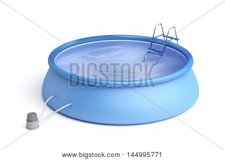 Portable swimming pool with ladder and filter pump on white background, 3D illustration