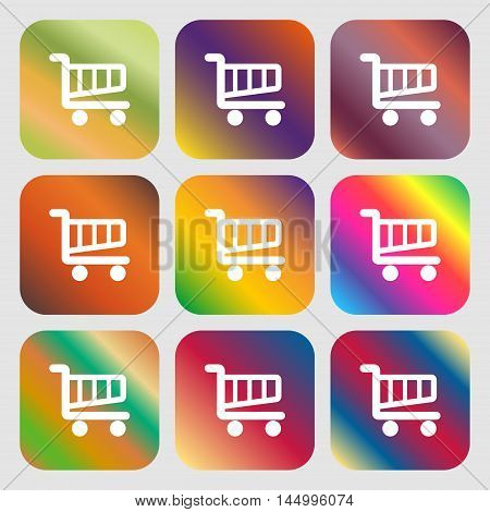 Shopping Cart Sign Icon. Online Buying Button . Nine Buttons With Bright Gradients For Beautiful Des