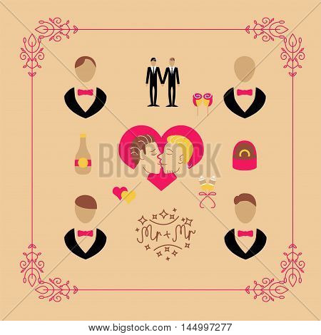 Marriage set of vector icons and wedding elements for gay date and wedding