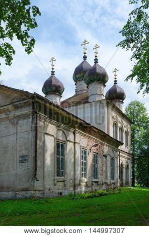 KALYAZIN RUSSIA - JULY 22 2016: Kalyazinsky Local History Museum named Nikolsky (former Epiphany Church) Kalyazin Russia