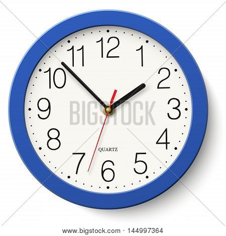 Classic round wall clock in blue body isolated on white background