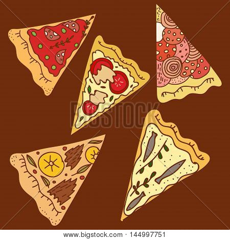 Vector simplified childlike illustration of most popular kinds of pizza isolated on brown. Illustration for food and pizza themes design element decoration of public places catering printed production.
