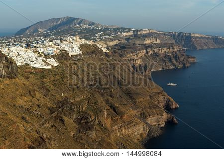 Amazing view to town of Fira and Prophet Elias peak, Santorini island, Thira, Cyclades, Greece