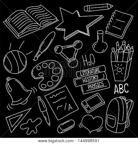 Hand-drawn school doodles. Back to school white chalk vector illustration on black board. Set of icons for class study. Funny drawing of cartoon elements: books, ball, art supplies, bell, smartphone
