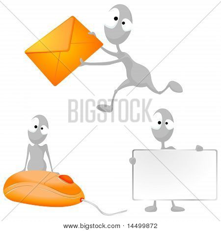 Aliens with blank board, a letter; sitting on a computer mouse.