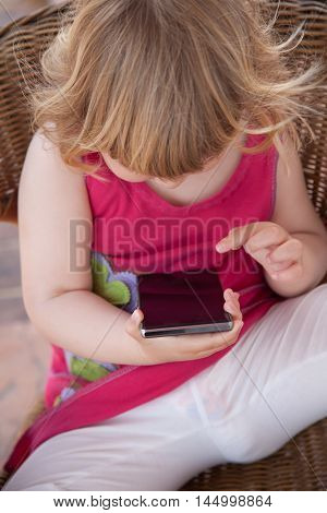 Blank Screen Smartphone In Little Child Hands