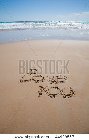 I Love You Text At Beach