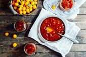Plums Jam In A Small Cup. Homemade Spicy Mirabelle, Greengage Pl poster