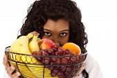 Woman Looking Over Fruit Black
