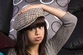 Cute Young Girl With Hat poster