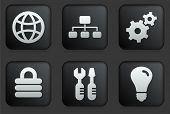 picture of internet icon  - Internet Icons on Square Black Button Collection Original Illustration - JPG