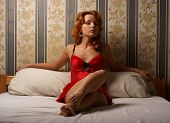 picture of moulin rouge  - Moulin Rouge lady on the antique bed - JPG