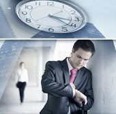 foto of short-story  - Business collage made of some pictures showing a short story about business dating - JPG