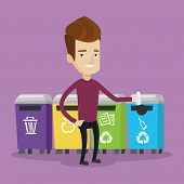 Постер, плакат: Man throwing away plastic bottle Man standing near four bins and throwing away plastic bottle in an