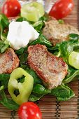 Small Steaks With Salad And Vegetable poster