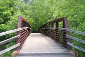 picture of arch foot  - An arched iron and wooden foot bridge in a park along a greenway trail as seen from end to the other - JPG