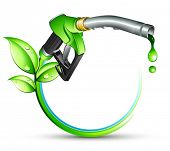 stock photo of fuel pump  - Green gas pump nozzle - JPG