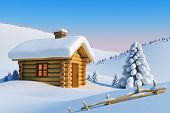 stock photo of house woods  - log house and fir - JPG