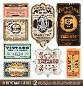 Vintage Labels Collection - 8 Design-Elemente mit original antikem Stil - Set 2