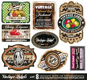 Vintage Labels Collection - 8 Design-Elemente mit original antikem Stil - Set 8