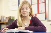picture of ten years old  - Schoolgirl Studying In Classroom - JPG