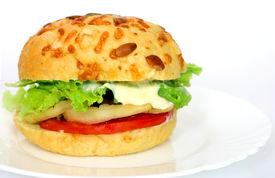 pic of veggie burger  - healthy vegetarian hamburger with wholegrain bread and lot of fresh vegetables - JPG
