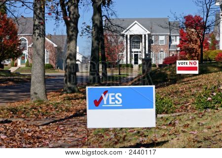 Vote! Blank Signs With Yes And No
