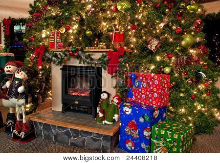 Traditional Christmas Hearth Scene