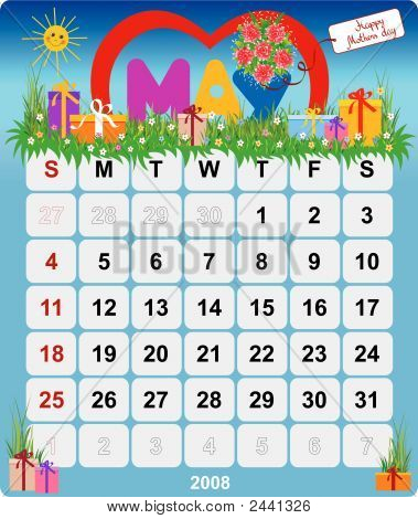 Monthly Wall Calendar May 2008