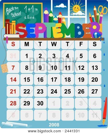 Monthly Wall Calendar September 2008