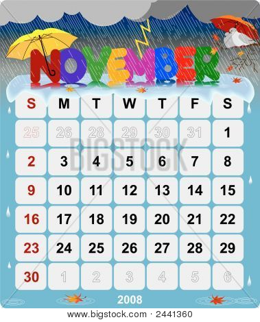 Monthly Wall Calendar November 2008  - Version 2