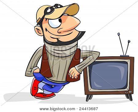 man standing next to a retro TV