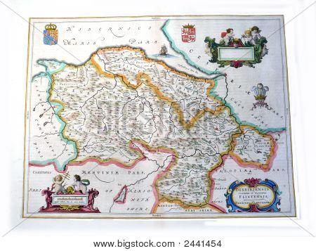 17Th Century Map Of Denbigh And Flintshire By Johan Blae