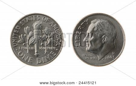 Us One Dime Coin Isolated On White