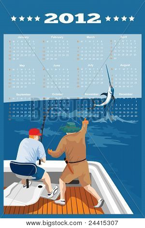 Fishing Poster Calendar 2012 Blue Marlin Fish