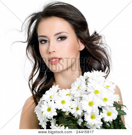 Sensuality Beautiful Girl With Flowers